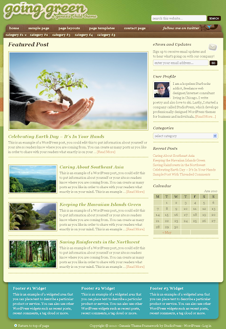 Going Green Child Theme Free Download.