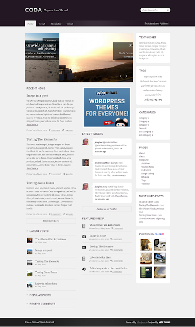Coda Wordpress Theme by WooThemes Free Download.