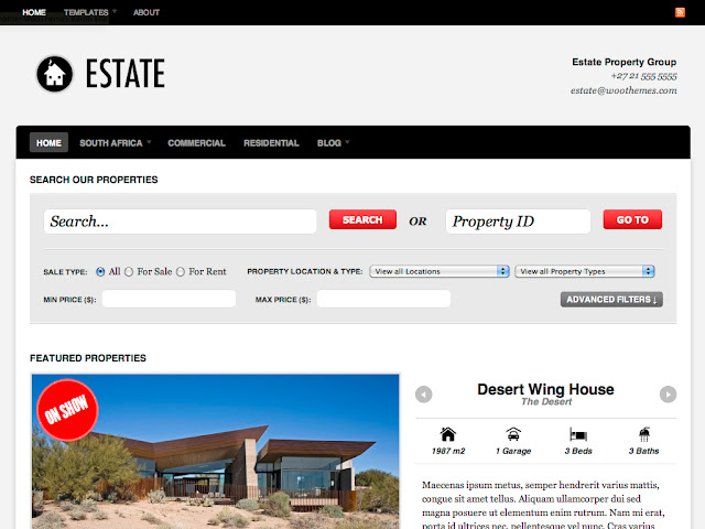Estate - Real Estate Wordpress Theme by WooThemes Free Download.