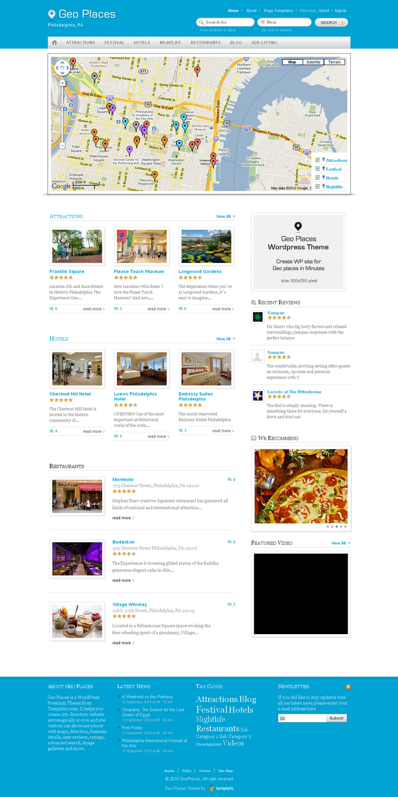 Geo Places WordPress Theme Free Download by Templatic.