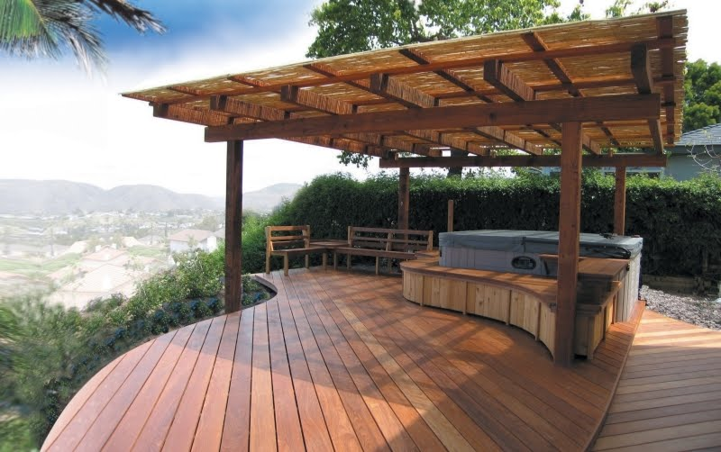 Back Yard Designs with Hot Tub Deck Ideas