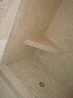 STRAIGHT EDGE TILE Custom Shower With Niche Insert And