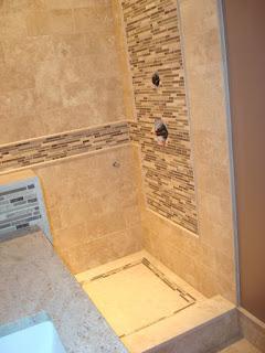 straight edge tile: travertine shower & back splash with