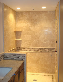 Straight Edge Tile Travertine Shower Amp Back Splash With