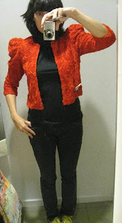 H&M garden collection red jacket @ Fashion Herald