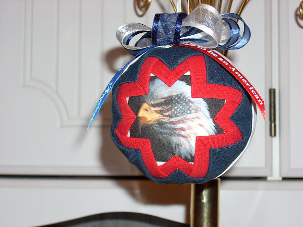Military Memory Bulb Handmade Quilted Ornament