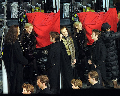 Dakota Fanning and The Volturi on the set
