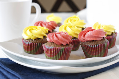 Mini Chocolate Cupcakes with Colorful Buttercream Icing