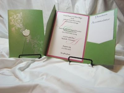 Hot Pink and Green Monogram Pocketfold Invitation