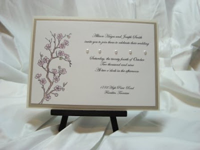 Detail of Hand Stamped and Colored Cherry Blossom Invitation with 3D Dimension of Hot Fix Pearls