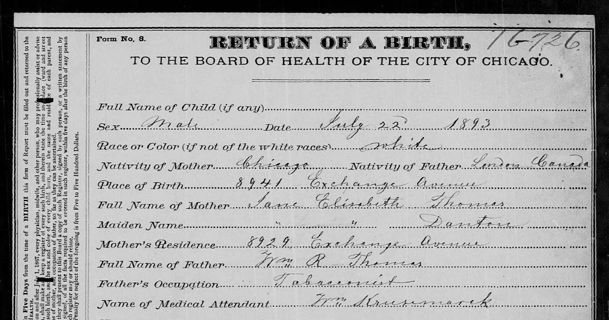 George Aubrey Thomas Birth Certificate