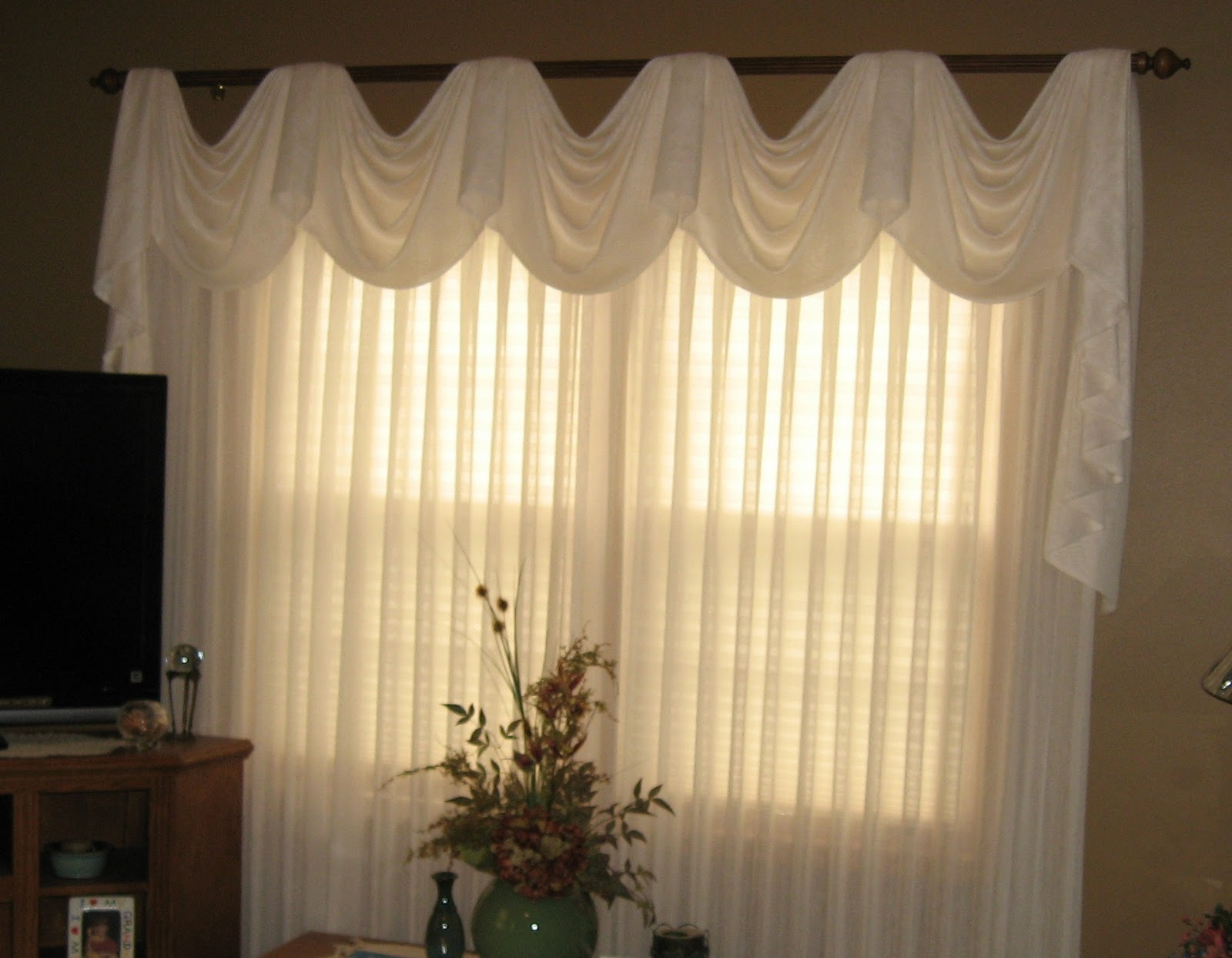 Window Fashions Pleated Sheers With Empire Pole Swag