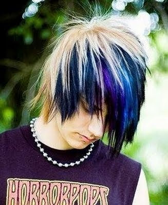 Emo Boys With Blonde Hair.A Very cool black and blonde emo hairstyle for