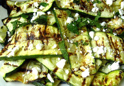 Scrumpdillyicious: Grilled Zucchini Ribbons with Feta and Mint