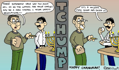 those sufganiyot have way too much oil so do the latkes and those candles may be a fire hazard i think safety regulations tchump its a holiday pipe down and enjoy it happy chanukah