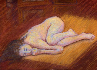 Nude woman pastel