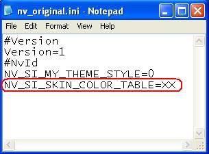 """isi file """"nv_original.ini"""" ditambah dengan line *** """"NV_SI_SKIN_COLOR ..."""