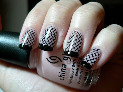 Sexy Fishnet and Black Tip Nail Art