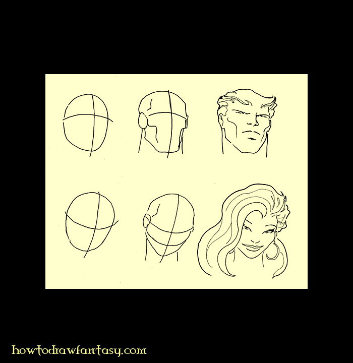 How to draw the human head. Comicbooks art. Fantasy drawing courses.