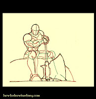 How to draw a barbarian warrior sitting on a rock.
