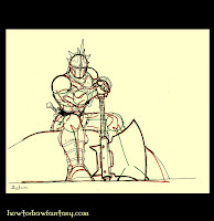 How to draw a barbarian warrior with his chainmail armor, helm and magic battle axe.