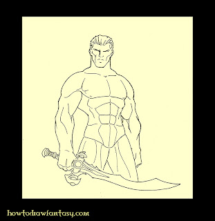 How to draw a warrior with curved sword. Studded leather armor art tutorial.