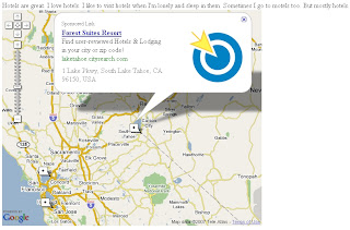 Google Maps API sponsored links(ads) on a map