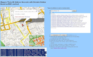 UK Address Geocoder with Clickable Sidebar