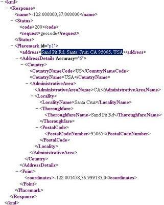 Reverse Geocoder Example HTTP Response