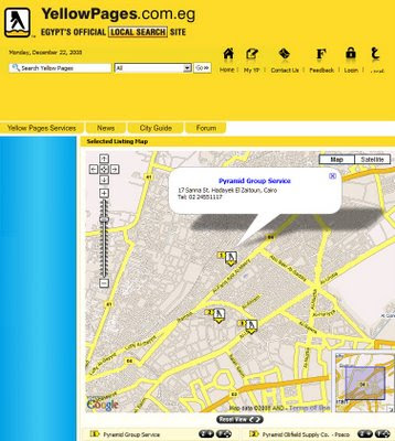 Egypt Yellow Pages gets maps