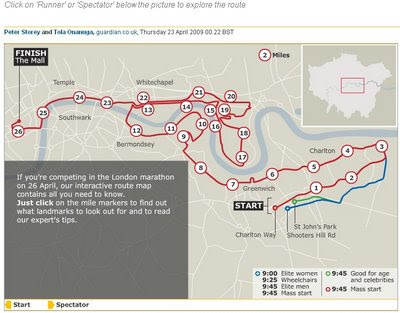 Guardian London Marathon Route Map 2009
