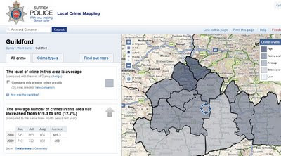 Crime Maps Guilford, Surrey (England & Wales ) Released