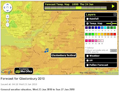 Met Office Weather Events Glastonbury Map