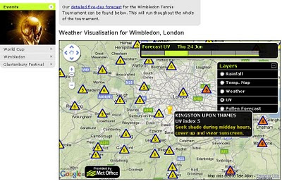 Met Office Weather Events Wimbledon UV Map