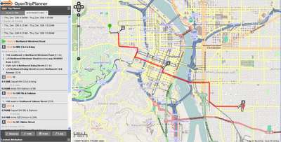 OpenTripPlanner Portland Route