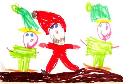 Desenho do Pai Natal e duendes