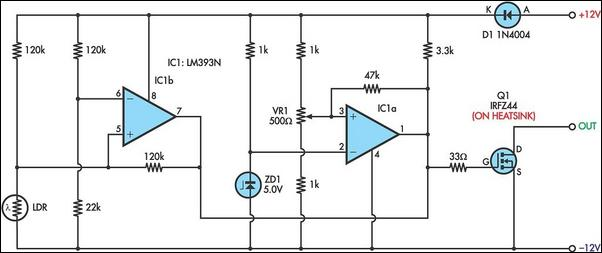 Solar battery protector prevents excessive discharge circuit schematic