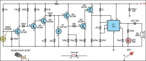 Simple knock alarm with piezo sensor circuit schematic