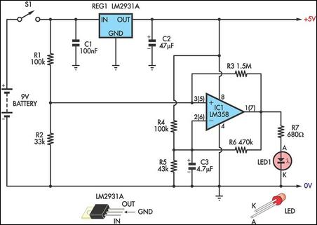 Low battery indicator circuit schematic