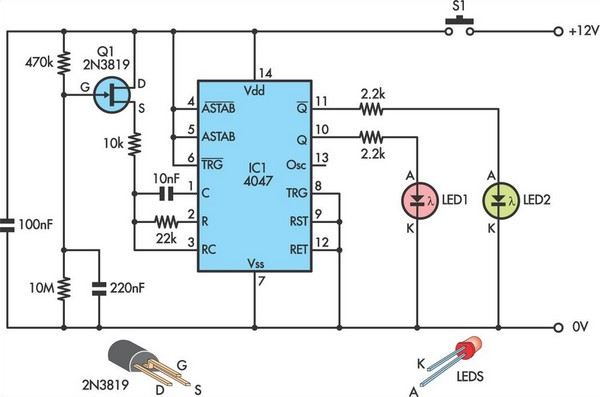 Yes-No indicator has zero standby current circuit schematic