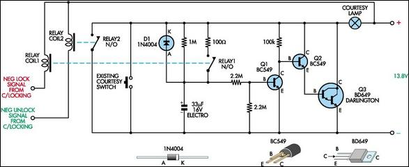 Courtesy light extender circuit schematic