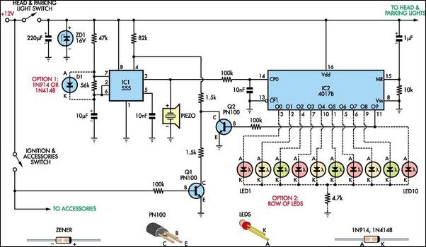 Automatic headlight reminder circuit schematic