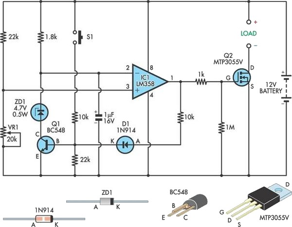 Low-voltage cutout for 12V SLA batteries circuit schematic