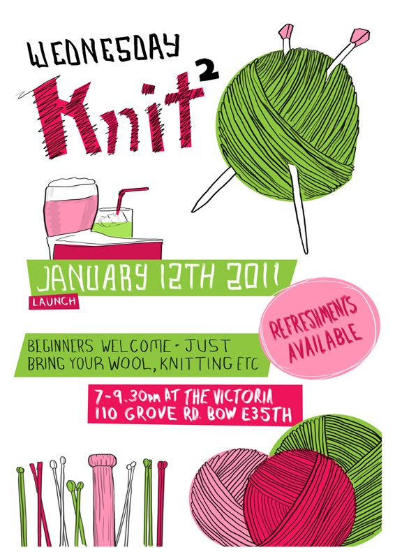 Knitting Club Flyer : Prick your finger new east end knitting club