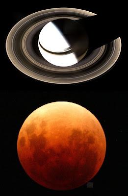 Saturno, visto da espaçonave Cassini/NASA e Eclipse total da Lua?O Globo
