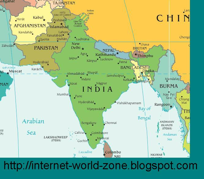 Internet Around The World South Asia Political Maps Of India