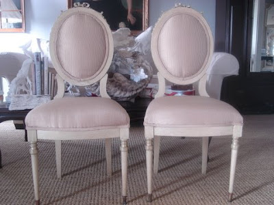 French Chairs on Pair Of Cream Colored French Chairs With Original Sateen Upholstery