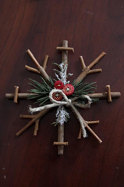 Rustic Snowflake Twig Ornament