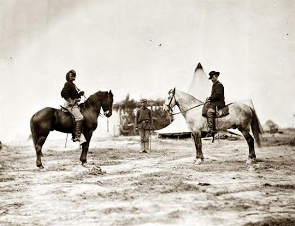 Capt. Custer, (left) with Gen. Alfred Pleasonton at Falmouth, Va. 1863