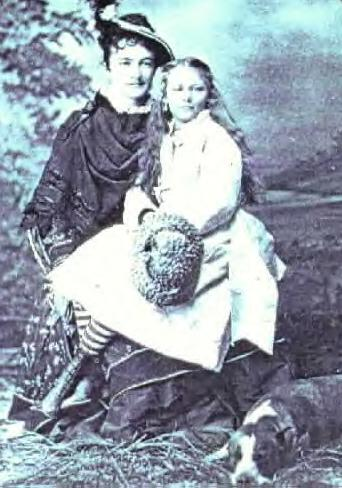 Nina Tilford Cameron as a Young Girl with Libbie Custer. Undated Photo
